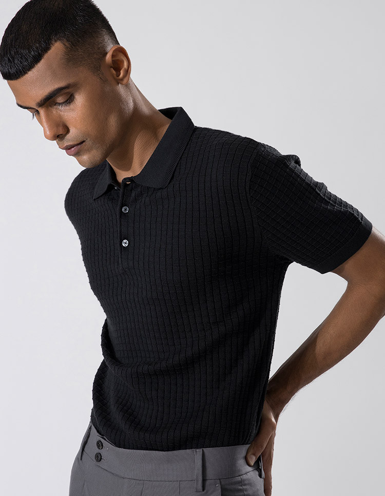 Black Textured Polo Knit Category Image