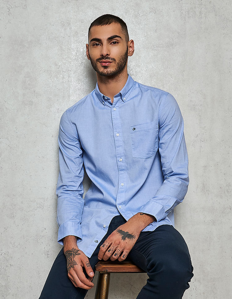 Men's 100% Supima Cotton Blue oxford Casual Shirt
