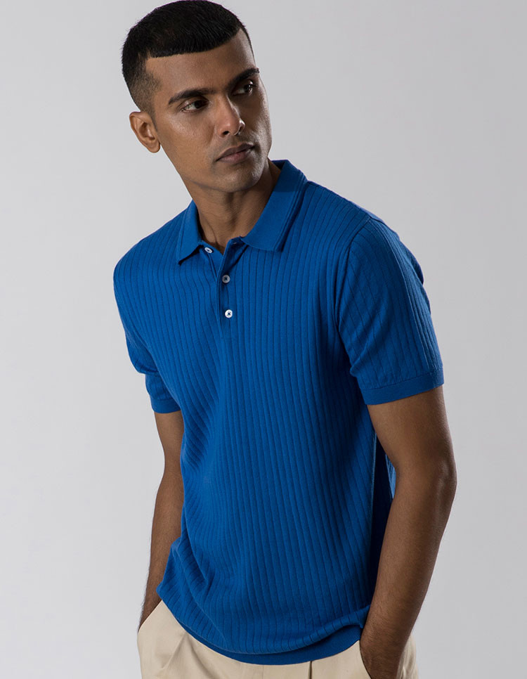 Classic Blue Striped Polo Category image
