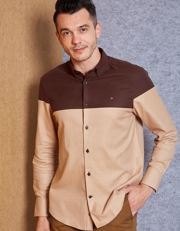 Men's Brown Cotton Tencel Khaki Colorblock Shirt