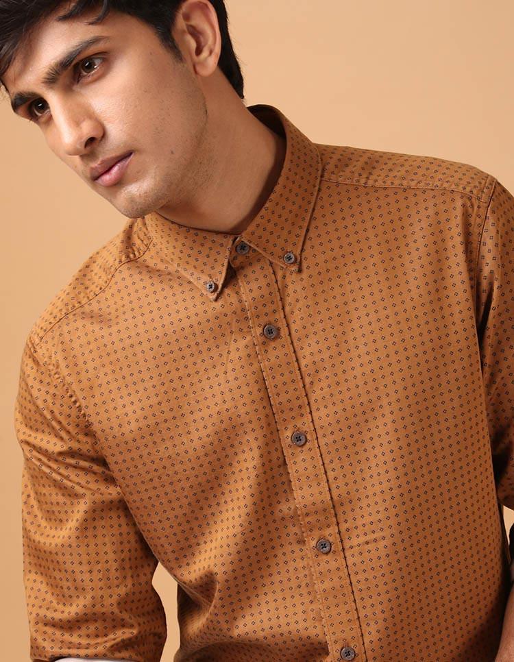 Men's Cotton Mustard Print Shirt
