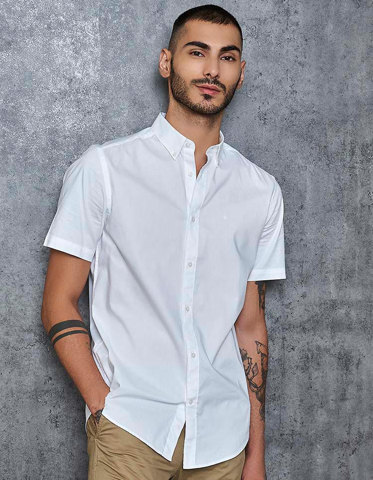 Supima Cotton Men's White Oxford Short Sleeve Shirt