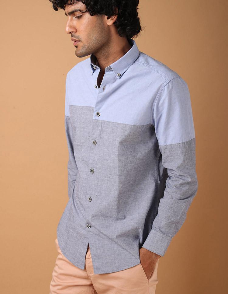 Men's 100% Cotton Colorblock Shirt