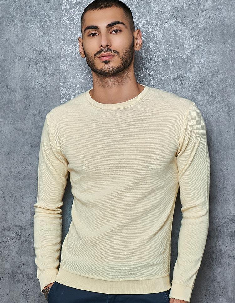 100% Supima Textured Cream Pullover