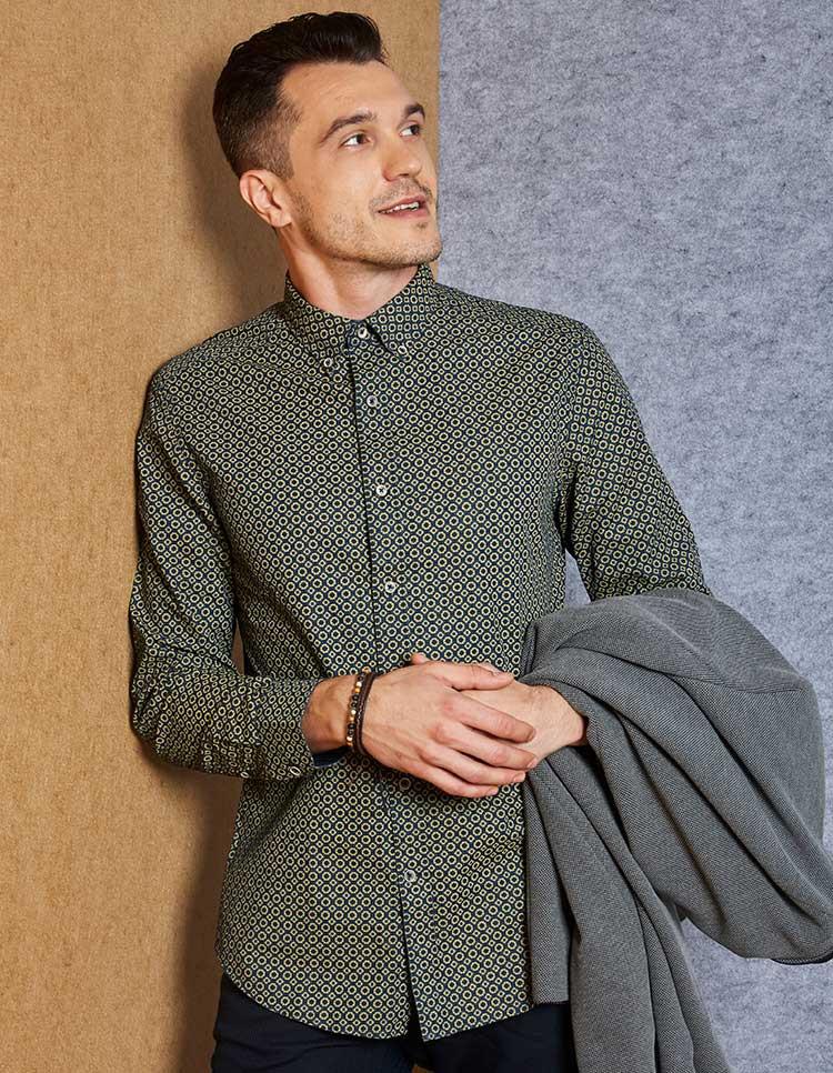 Men's Geometric Denim Print Shirt