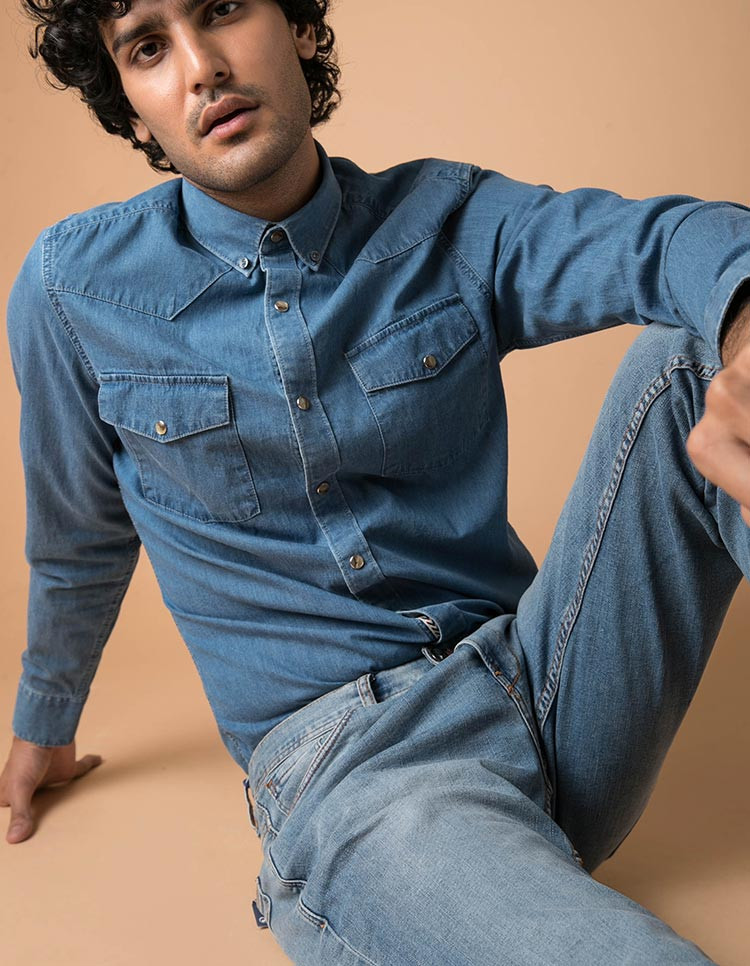 100% cotton men's denim designer shirt