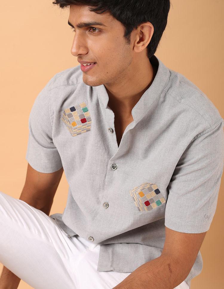 Premium Cotton Lycra Embroidered Mens Shirt