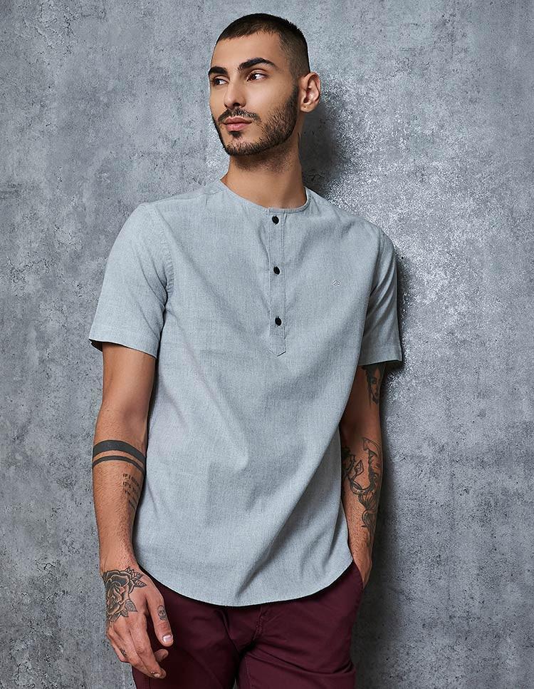 Men's Cotton Stretch Grey Popover Shirt