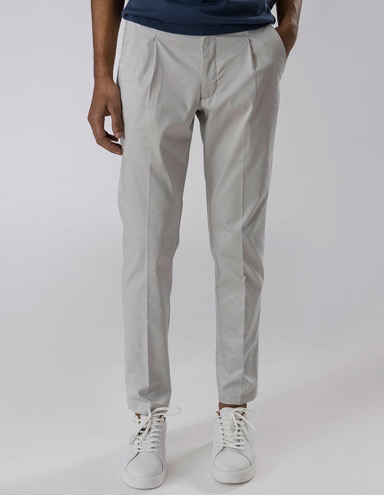 SOFT GREY PLEATED TROUSERS