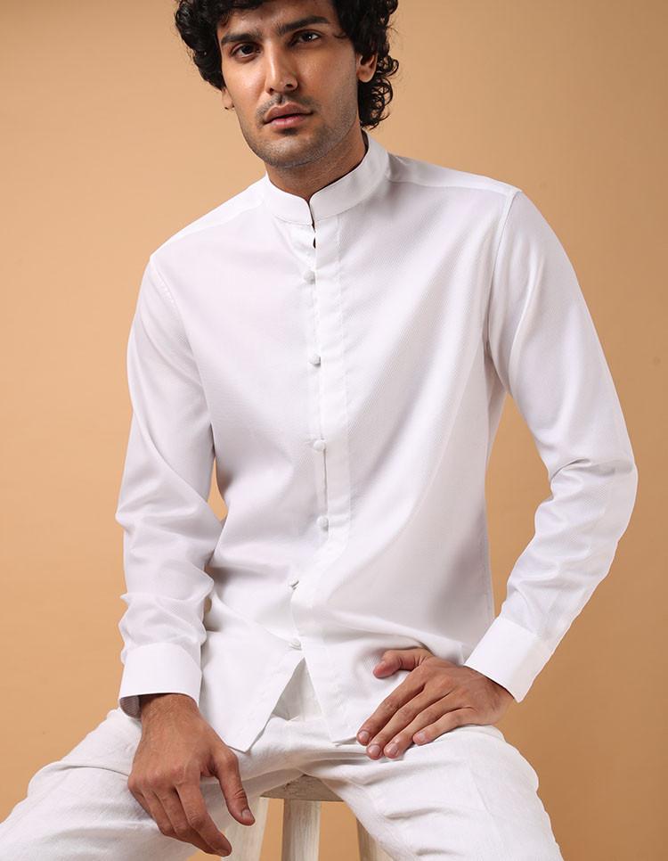White Giza Cotton Dobby Shirt