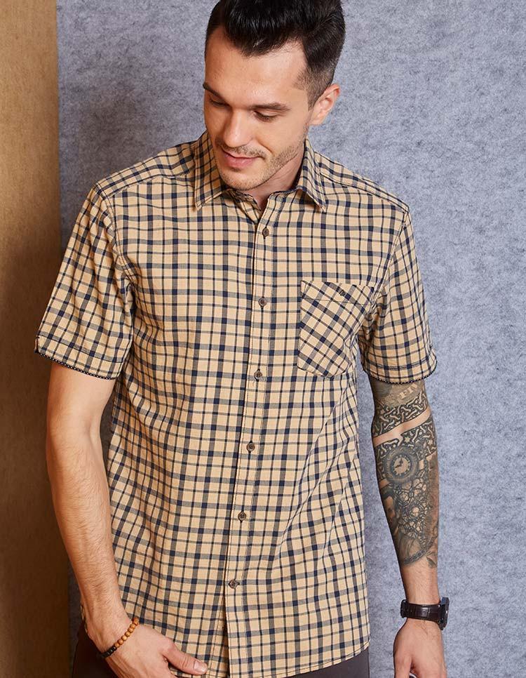 Men's Cotton Khaki Navy Check Shirt