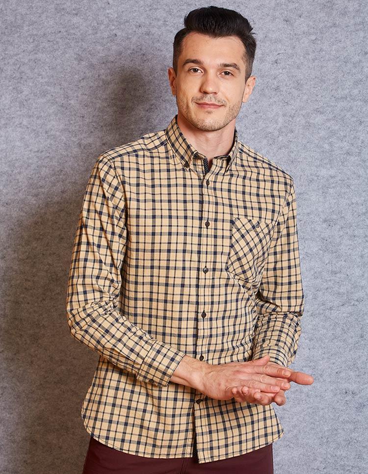 Men's Khaki Navy Check Shirt
