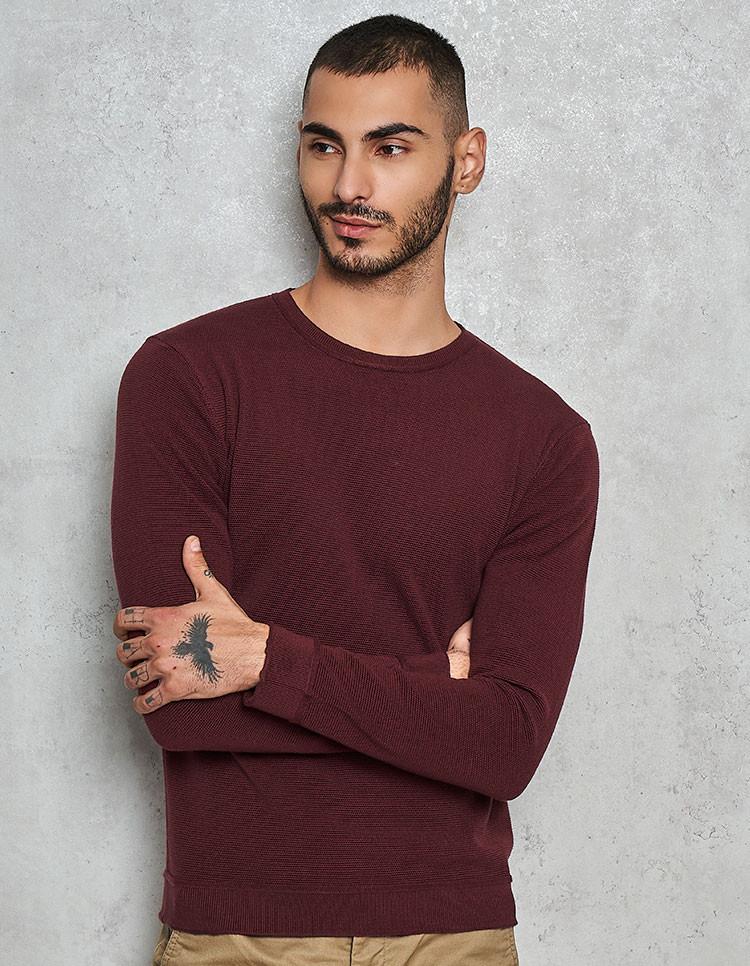 100% Supima Textured Marsala Pullover