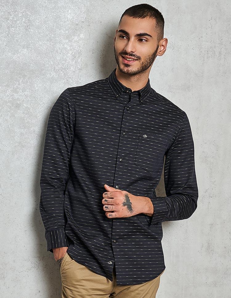 Men's Black Jacquard Cotton Shirt
