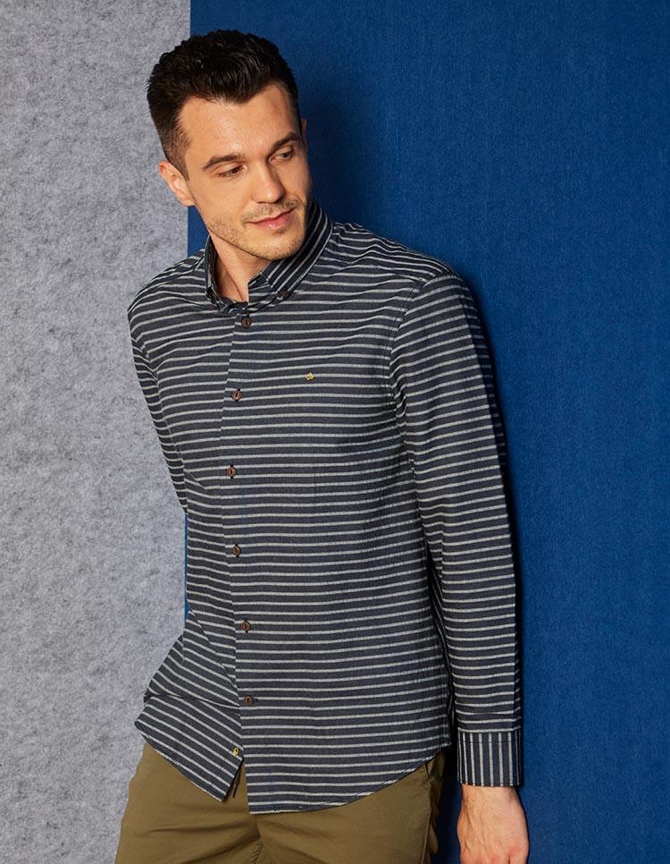 Men's Indigo denim stretch stripe shirt