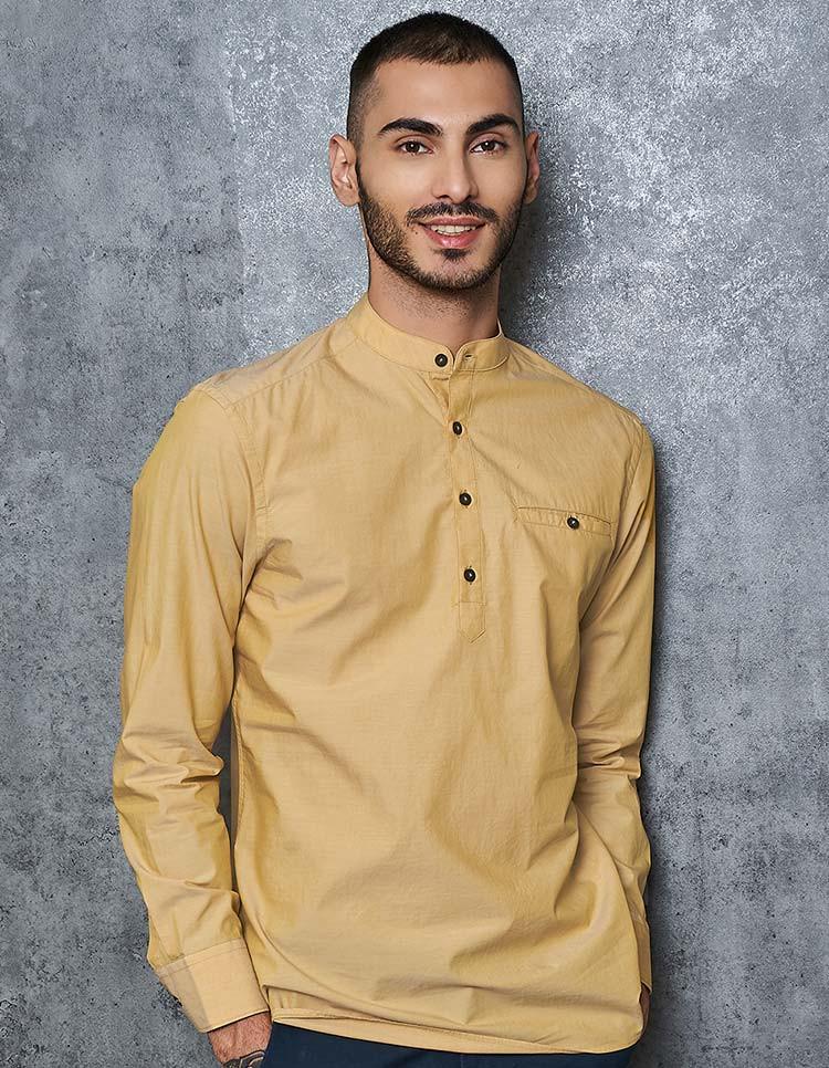 Men's Mustard Cotton Popover Shirt