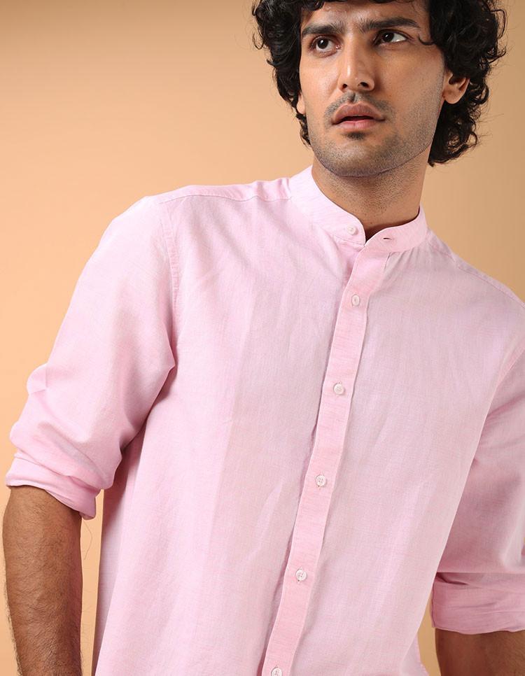 Men's Pink Linen Cotton Casual Shirt