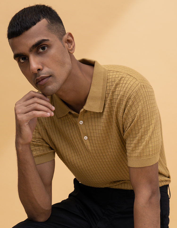 Sand Brown Textured Polo Category Image