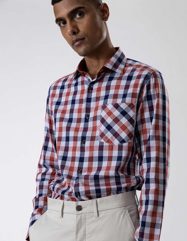 Men's Rust Navy Herringbone Check Shirt