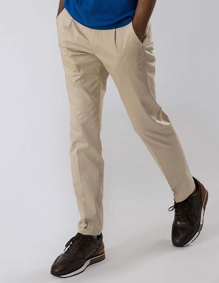 SOFT BEIGE PLEATED TROUSERS