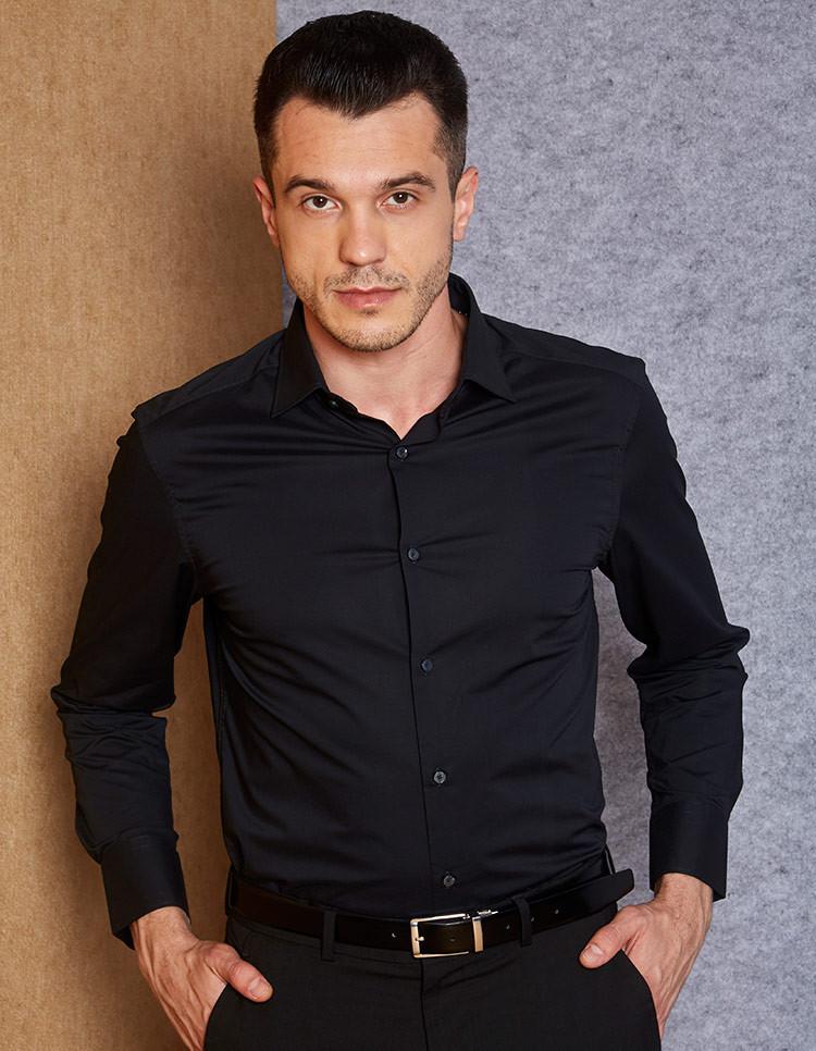 Men's Cotton Stretch Black Formal Shirt