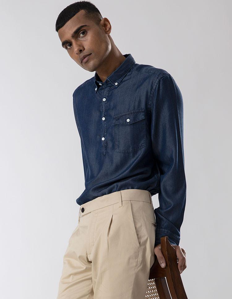 Men's Tencel Soft Denim Casual Shirt