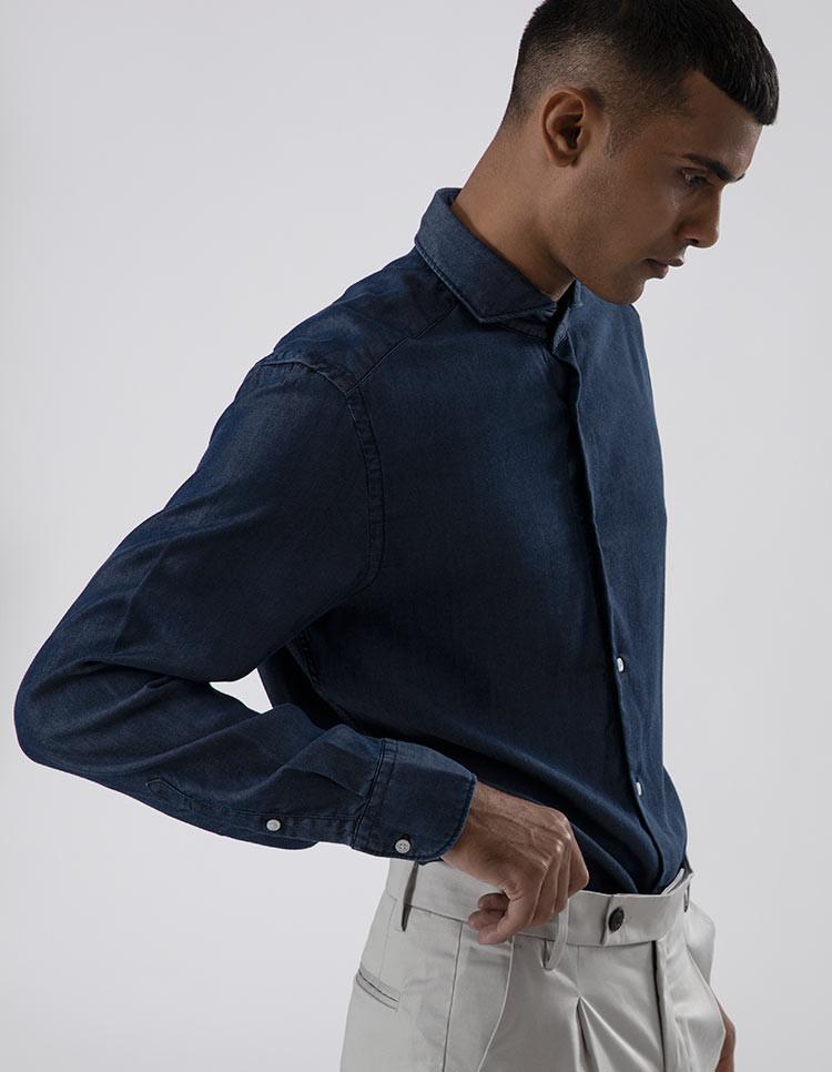 Men's Dark Wash Tencel Casual Shirt