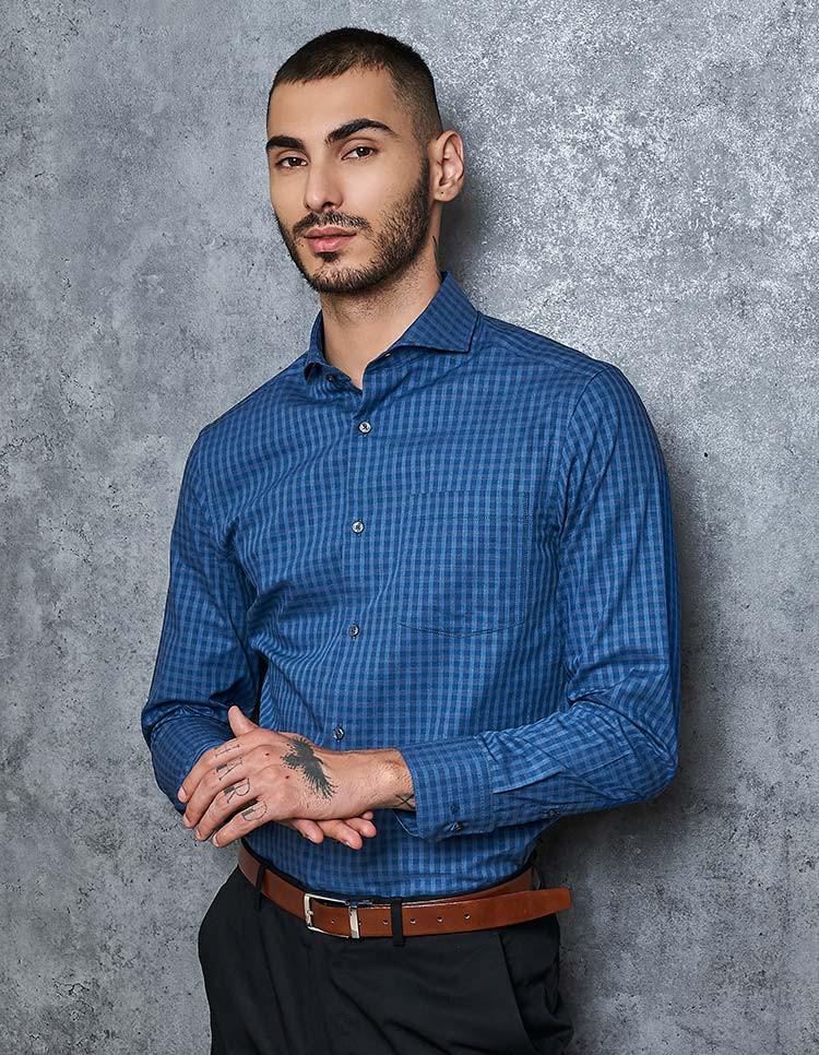 Tonal Blue Melange Shirt