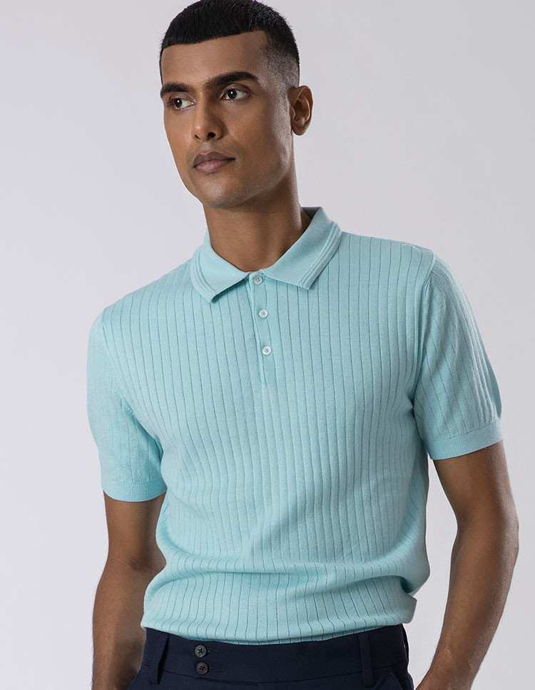 Sky Blue Striped Polo Category Image