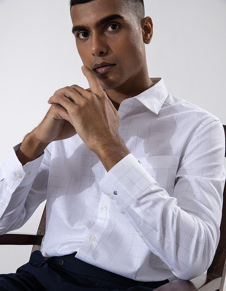 Men's White Space Dyed Check Formal Shirt